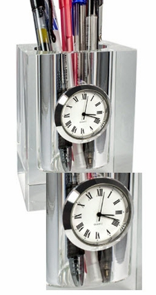 Crystal Desk Caddy with Clock, Customized