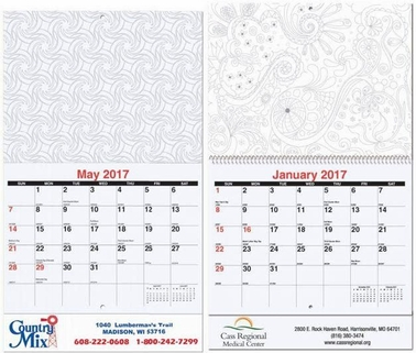 Customized 12-Month Adult Coloring Calendar, USA-Made