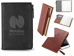"""Refillable Journal with Zippered Pocket, Debossed - 5.75""""w x 8.5""""h"""
