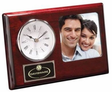 Rosewood Clock & Photo Frame Duo