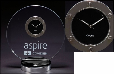Smoked Glass & Silver Custom Desk Clock