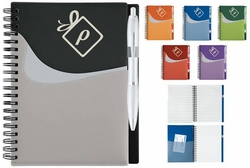 Spiral Notebook with Wavy Pockets and Pen