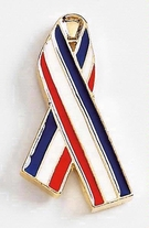 USA Awareness Ribbon Metal Lapel Pin - 1.25""
