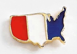 USA Map Patriotic Metal Lapel Pin - 7/8""