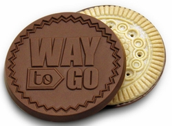 """Way to Go!"" Belgian Chocolate Dipped Cookies (Case of 50)"