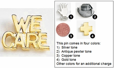 We Care Metal Lapel Pin
