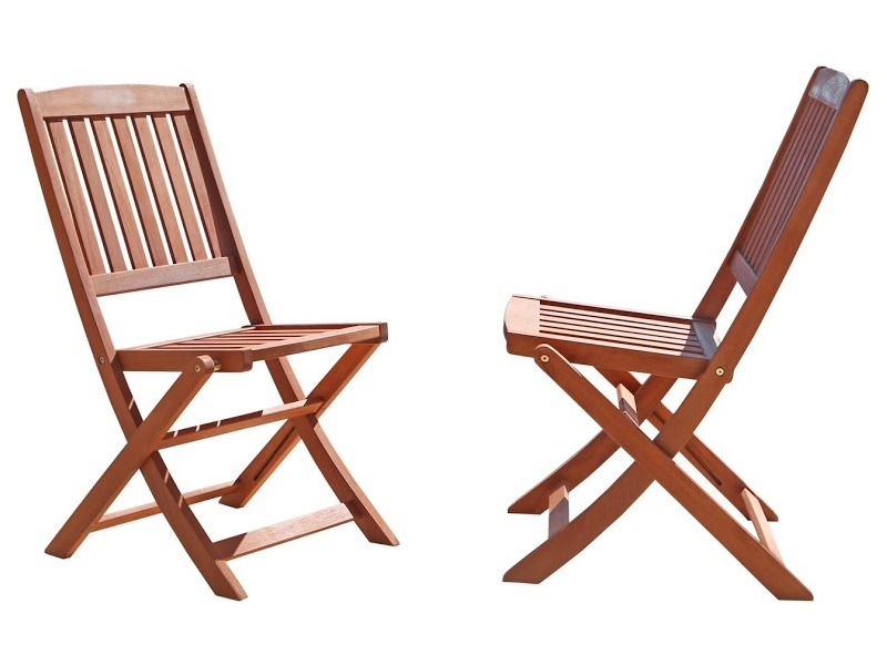 ... 5 Piece Outdoor Folding Bistro Set With Table And 4 Full Vertical Slat  Back Folding Armless