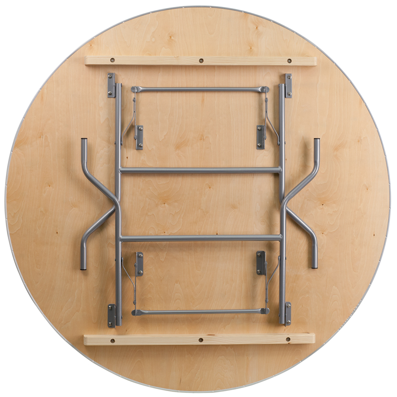 Round HEAVY DUTY Birchwood Folding Banquet Table with METAL