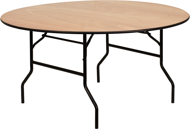 Wonderful 60u0027u0027 Round Wood Folding Banquet Table With Clear Coated Finished Top [YT