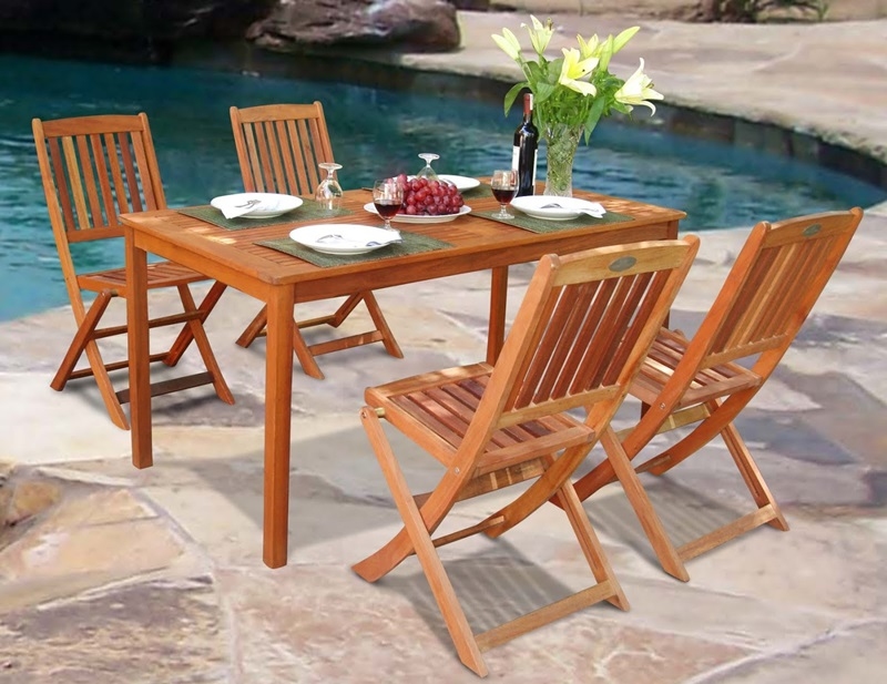 Balthazar 5 piece outdoor dining set with rectangular for Html vertical table