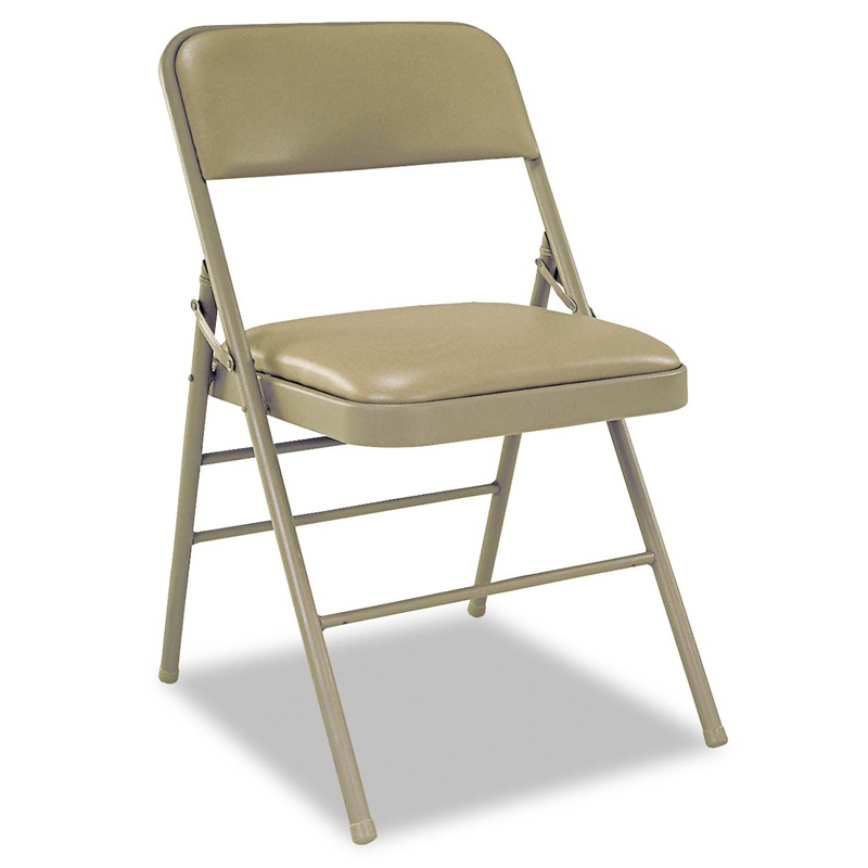 Cosco Deluxe Vinyl Padded Seat Back Folding Chairs Taupe 4 Carton