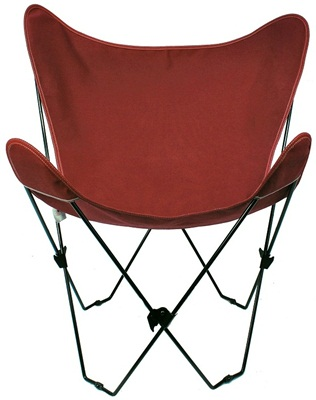 Folding Butterfly Chair With Black Steel Frame And Cotton Cover Burgundy