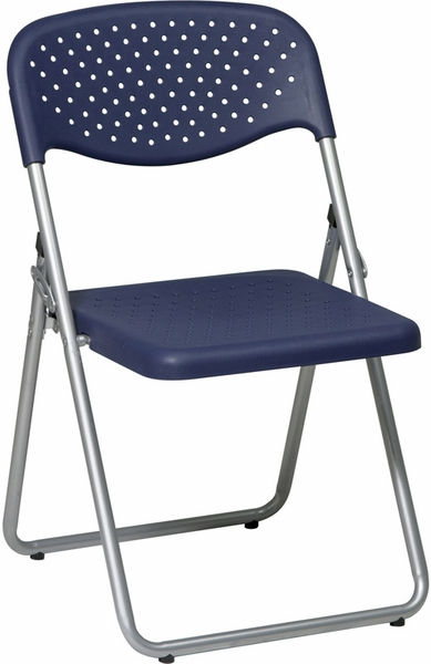 Work Smart Folding Chair With Ventilated Plastic Seat And Back Set Of 4 M