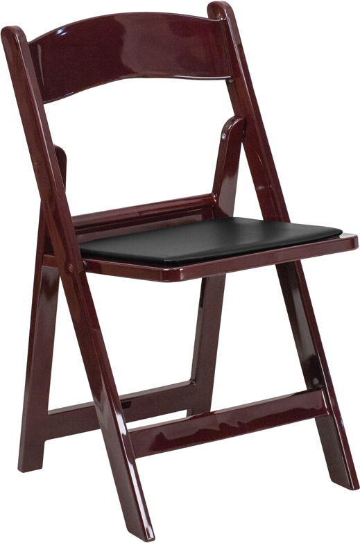 HERCULES Series 1000 lb Capacity Red Mahogany Resin Folding Chair with Black