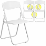 HERCULES Series 880 lb. Capacity Heavy Duty White Plastic Folding Chair with Built-in Ganging Brackets [RUT-I-WHITE-GG]