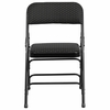 HERCULES Series Curved Triple Braced & Double Hinged Black Patterned Fabric Metal Folding Chair [AW-MC309AF-BLK-GG]
