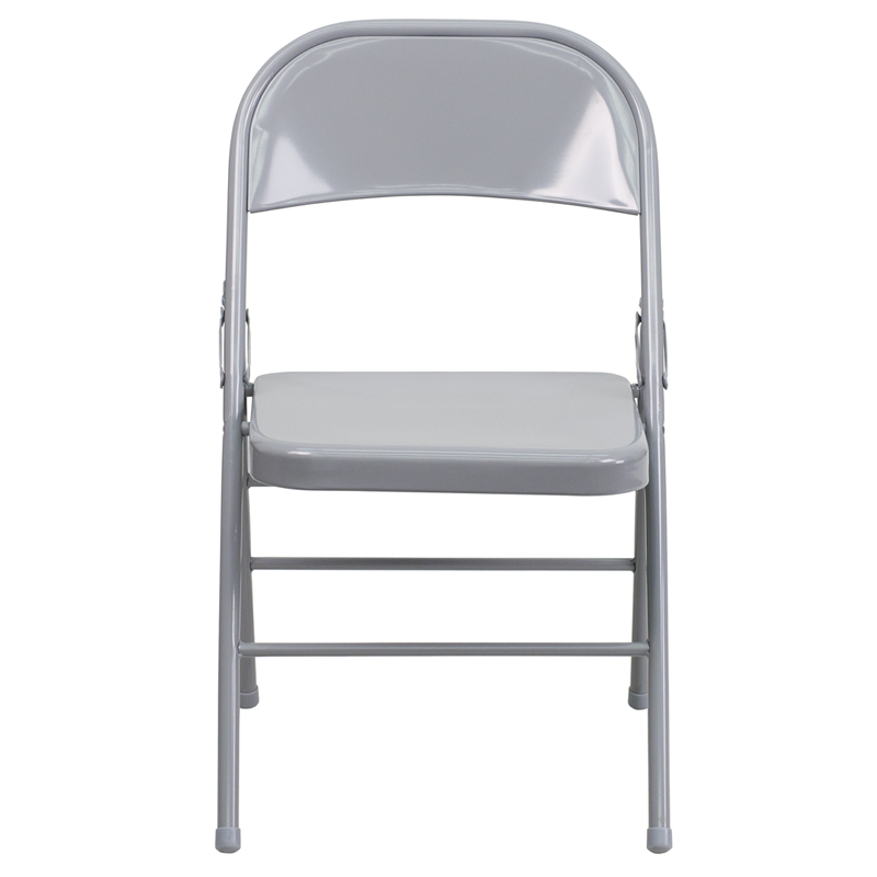 ... HERCULES Series Triple Braced U0026 Double Hinged Gray Metal Folding Chair  [HF3 MC  ...