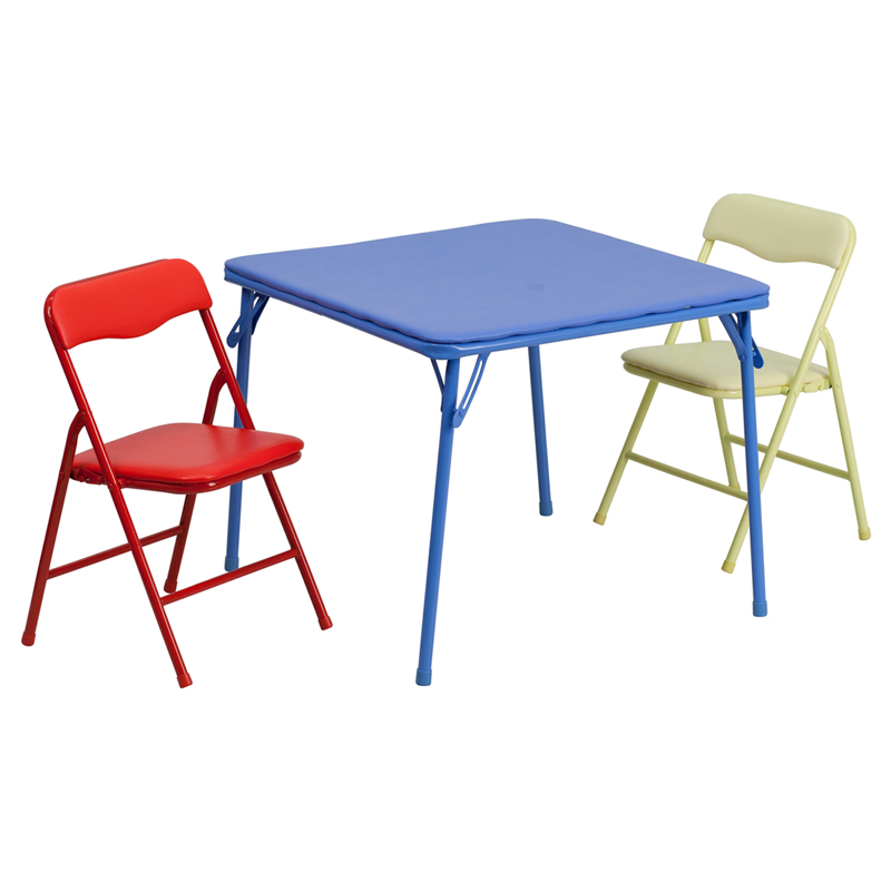 Kids colorful 3 piece folding table and chair set for Table and chair set