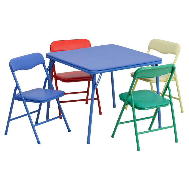 kids colorful 5 piece folding table and chair set. Black Bedroom Furniture Sets. Home Design Ideas