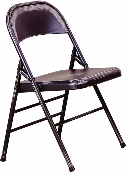 OSP Designs Bristow Distressed Steel Folding Chair Set of 2 Antique Black