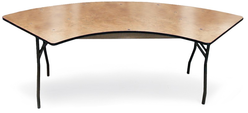 30 39 39 H Serpentine Plywood Folding Table With Locking Wishbone Style Le