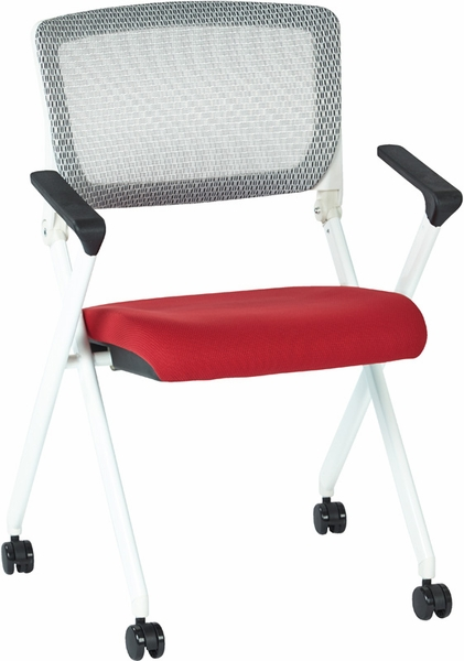 Space Pulsar Folding Chair With Breathable Mesh Back And Mesh Fabric Seat S