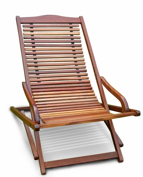 Vista Outdoor Vertical Slat Back Folding Arm Chair with Five Reclining Positi