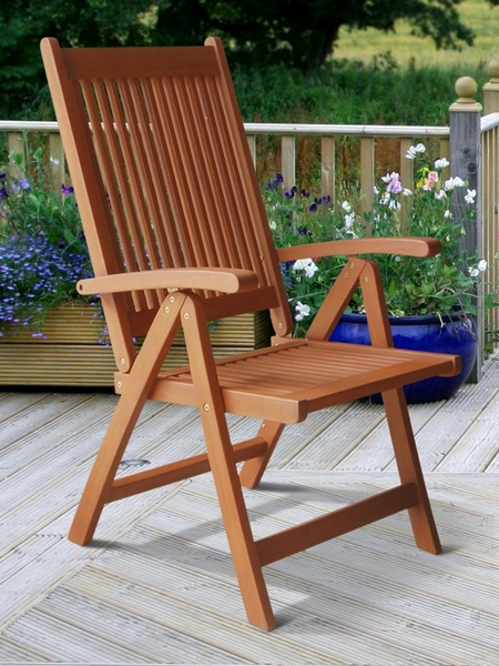 Vista Outdoor Vertical Slat Back Folding Arm Chair With