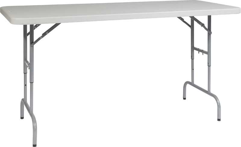 ... Work Smart 6u0027 Light Weight Resin Multi Purpose Folding Table With Height  Adjustment [BT06A