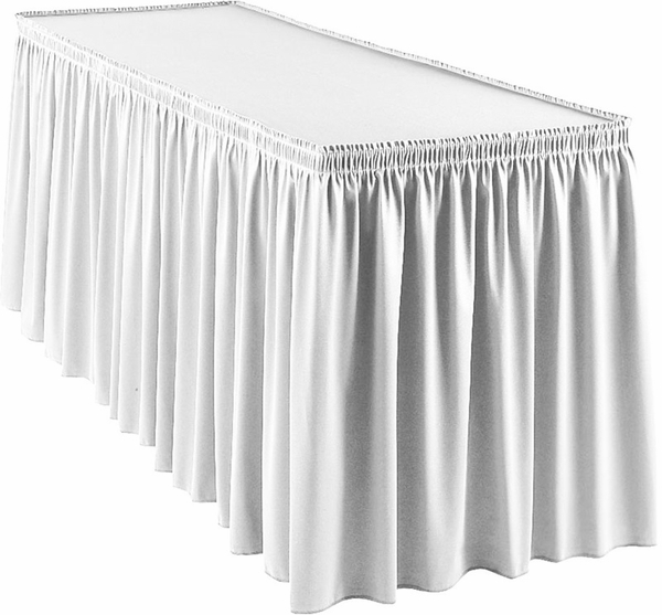 wyndham 13 foot shirred pleat table skirt with snugtight