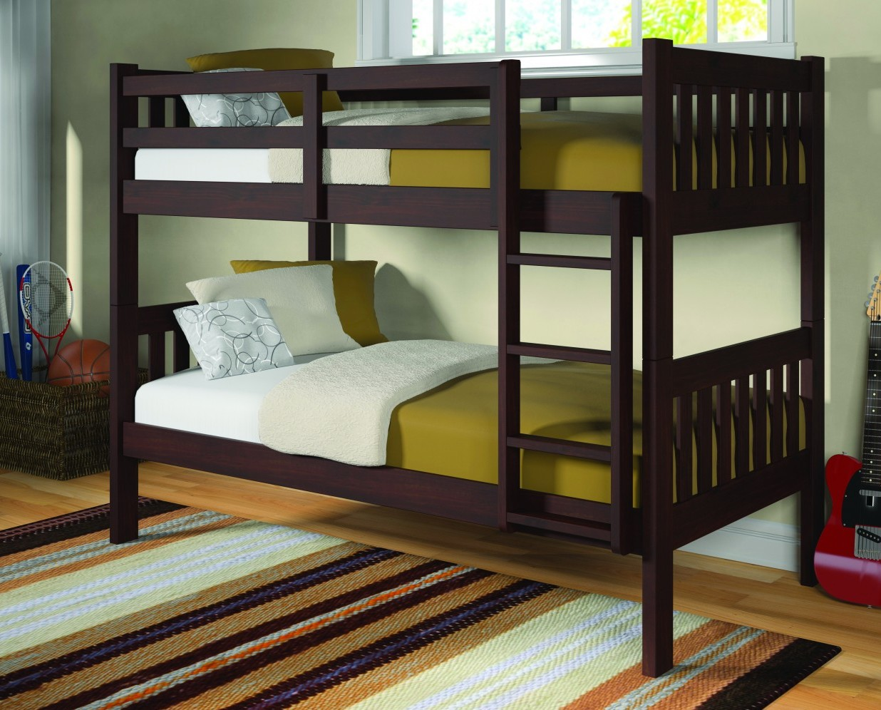 Mission bunk bed frame twin twin for Bunk bed frame