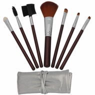 7pcs Brown Professional Cosmetic Makeup Make up Brush Brushes Set Kit with Silver Bag Cas - click to enlarge