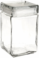 Anchor Hocking 85588R 1.5 Quart Stackable Square Clear Glass Storage Jar case of 4 - click to enlarge