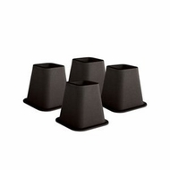 Black 6 inch Square Bed Risers Set of 4 - click to enlarge
