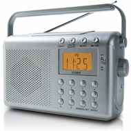 Coby CX789 Digital AM FM NOAA Radio with Dual Alarms, Silver - click to enlarge