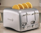 DeLonghi RT400 4-Slice Retro Toaster with Brushed Metallic Finish - click to enlarge