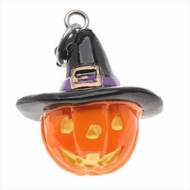 Hand Painted 3-D Halloween Jack O Lantern With Witches Hat Lightweight - click to enlarge