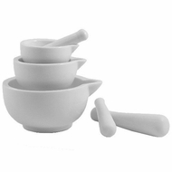 HIC 11460 Porcelain Set of 3 Mortar and Pestle White - click to enlarge