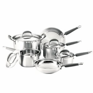 KitchenAid 75837 Gourmet Essentials Brushed Stainless Steel 10-Piece Cookware Set - click to enlarge