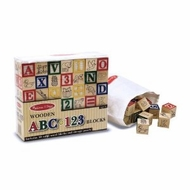 Melissa and Doug 1900 Wooden ABC and 123 Blocks - 50 Pieces - click to enlarge