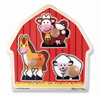 Melissa and Doug #2054 Barnyard Animals Jumbo Knob Puzzle - click to enlarge