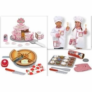 Melissa and Doug Chef Costume 3 Sets of Food, Tiered Special Occasion Cake, Slice & Bake Cookies, Bake & Decorate Cupcake Set - click to enlarge