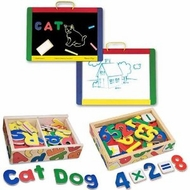 Melissa and Doug Magnetic Chalk / Dry Erase Board with Magnetic Wooden Alphabet and Numbers Bundle - click to enlarge