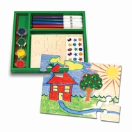 Melissa and Doug Two Wooden Jigsaw Puzzles - Decorate Your Own - click to enlarge