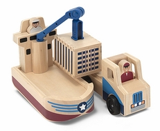 Melissa and Doug Whittle World - Cargo Ship & Truck Set - click to enlarge