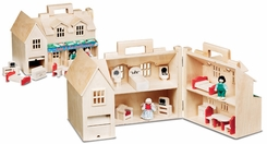 Melissa & Doug 786 Deluxe Wooden Fold & Go Dollhouse - click to enlarge
