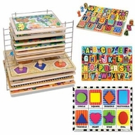 Melissa & Doug Chunky Puzzle Bundle: Shapes Chunky, Jumbo Numbers Chunky, Jumbo ABC Chunky with Deluxe Wire Puzzle Rack - click to enlarge