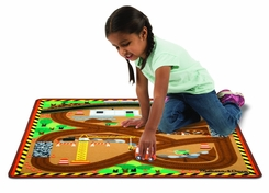 Melissa & Doug Round The Site Construction Truck Rug - click to enlarge