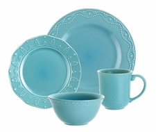 Paula Deen 58133 Signature Whitaker 16-Piece Dinnerware Set - Aqua - click to enlarge