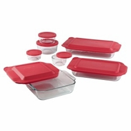 Pyrex 1088216 14pc Bake and Storage Set with Red Covers - click to enlarge